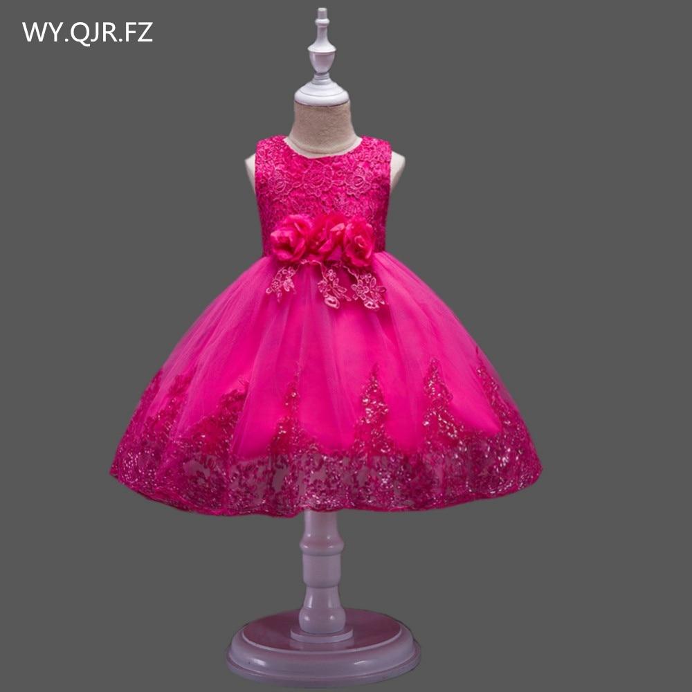 BH575M # vestido de baile niña flores rosa vestido de encaje de rendimiento de pequeños disfraces de anfitrión prendas de niños vestido barato al por mayor en China