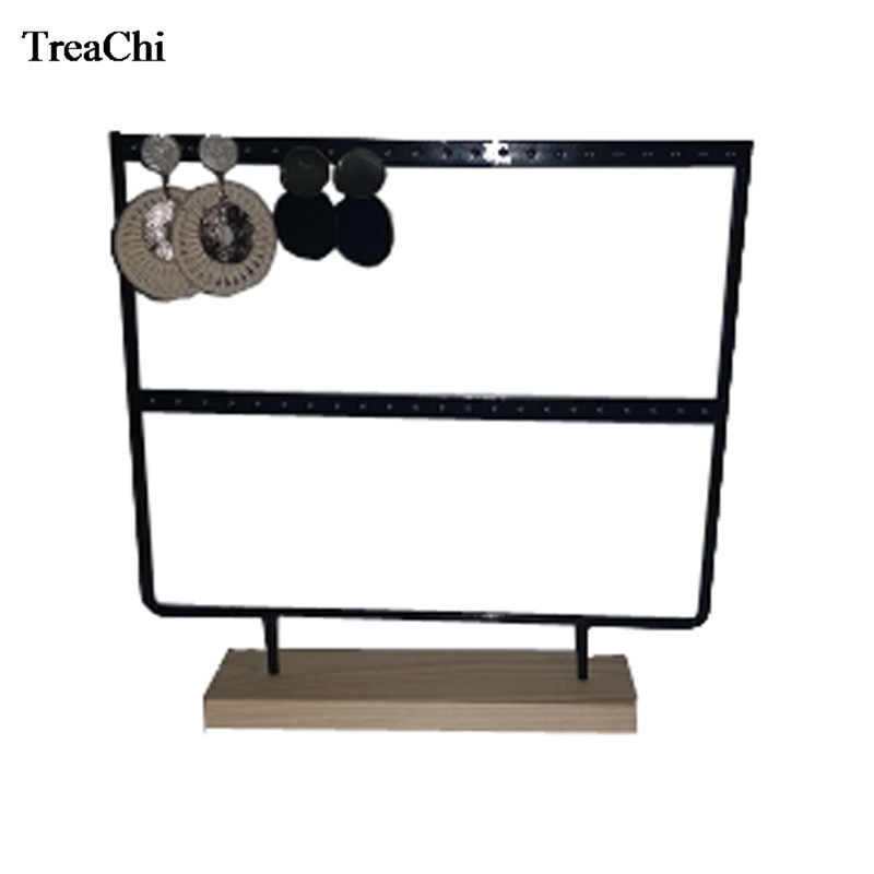2 Layer Wood Earring Jewelry Organizer Holder 44 Holes Stud Necklace Bracelet Jewelry Display Storage Stand Fashion Earring Rack