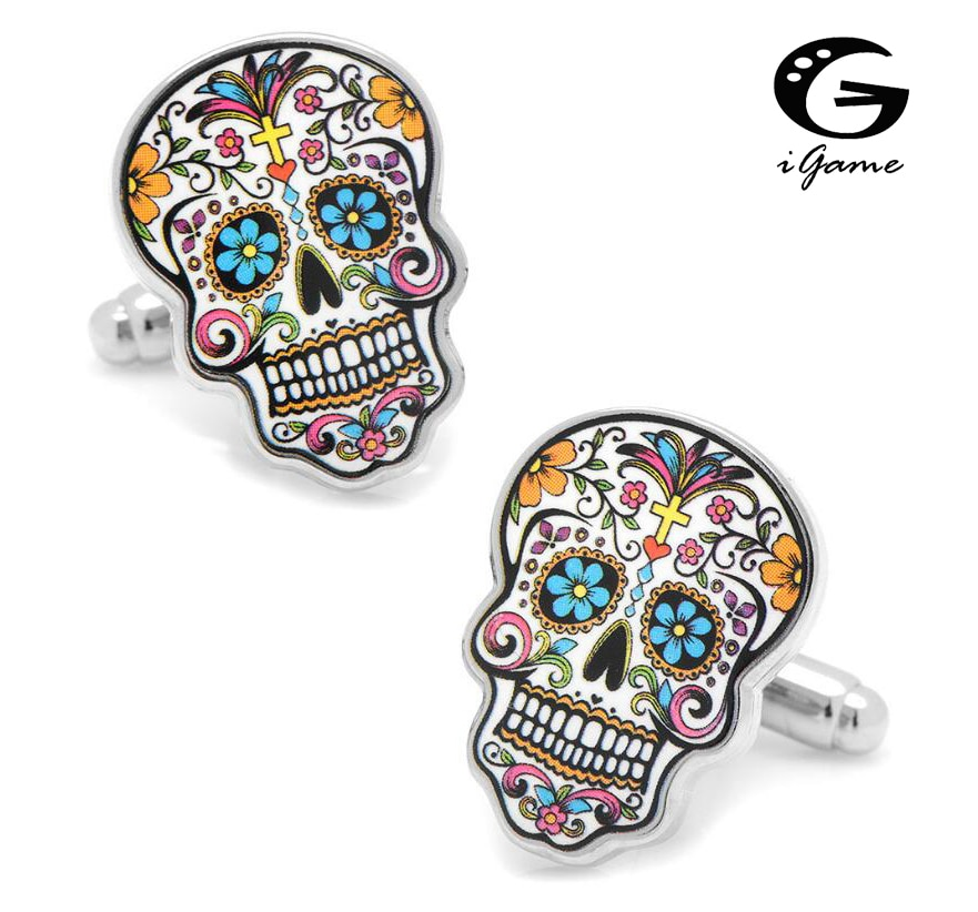 Запонки iGame Day Of The Dead, разноцветные, из латуни, с рисунком сахарного черепа, бесплатная доставка