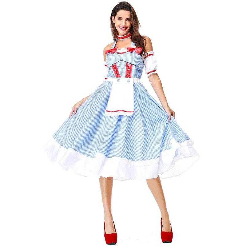Dorothy und der Zauberer in Unzen Kostüme Kleider Französisch Manor Magd Cosplay Kleid Schmetterling Blau Plaid Straples Kleidung