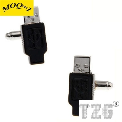USB preto Botão de Punho Cuff Link 1 Par Promoção Frete Grátis