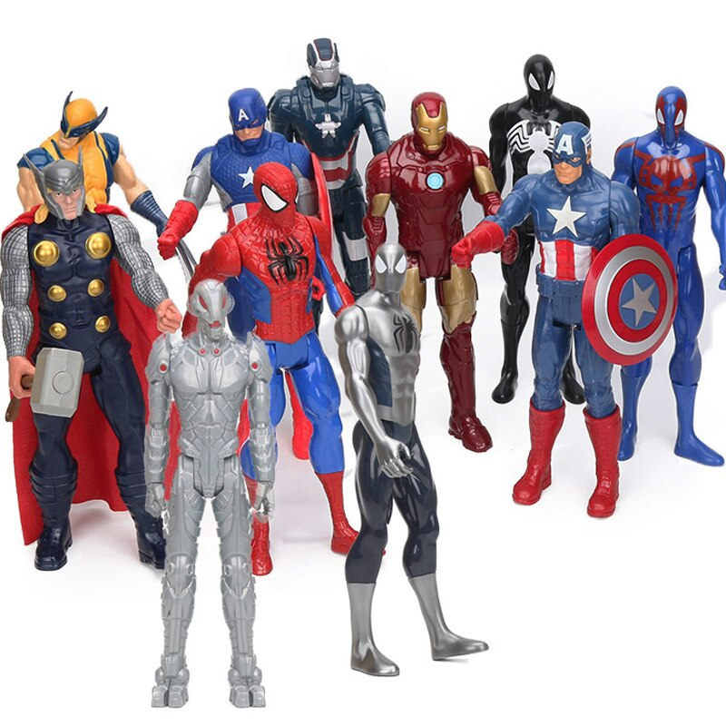 Marvel 30CM The Avengers Endgame Superhero Figure Thor Captain America Wolverine Spider Man Iron Man Collectible Model Dolls Toy