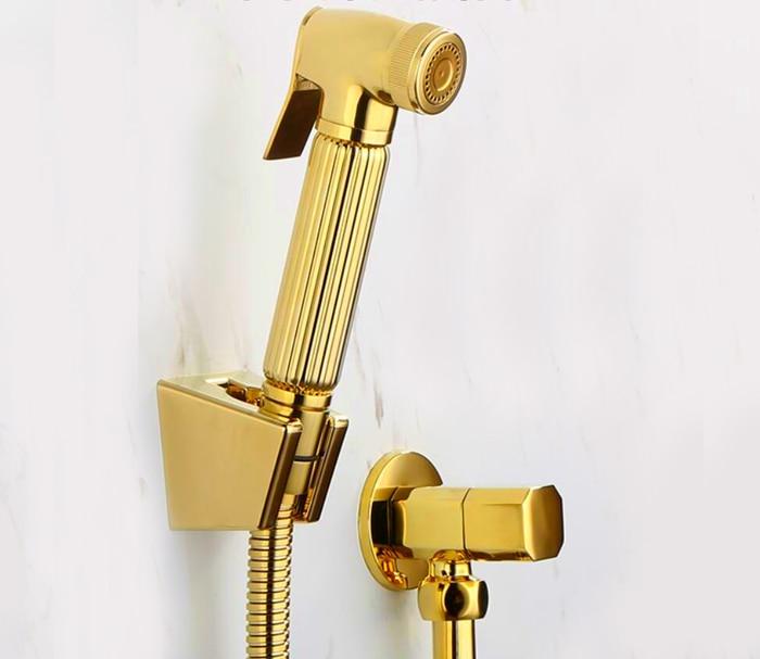 Torneira Туалет золотой ручной пеленки медный Биде Опрыскиватель Душ Shattaf спрей набор струйный и золотой угол клапан BD211-B