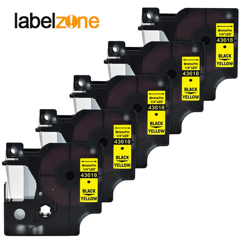 5 paquetes 43618 6mm * 7m negro sobre amarillo DYMO compatible D1 6mm impresoras de etiquetas D1 43618 para Administrador de etiquetas DYMO LM160 LM280 fabricante de etiquetas