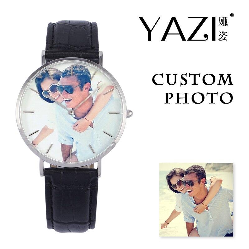 YAZI reloj de pulsera personalizado privado impresión fotográfica en reloj de Dial informal para hombres correa de cocodrilo cuero genuino reloj de mujer Waterpoof