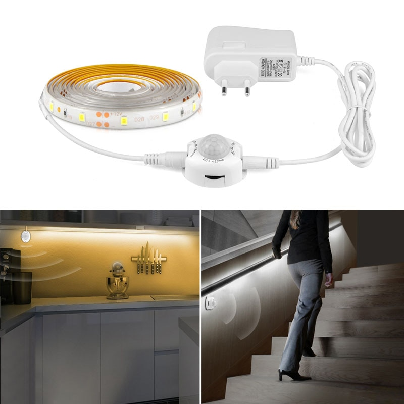 PIR Motion Sensor LED Strip Tape Ribbon Light Smart Turn On Off Timer SMD 3528 Warm White Bed Lights Bedroom Cabinet Night Lamp