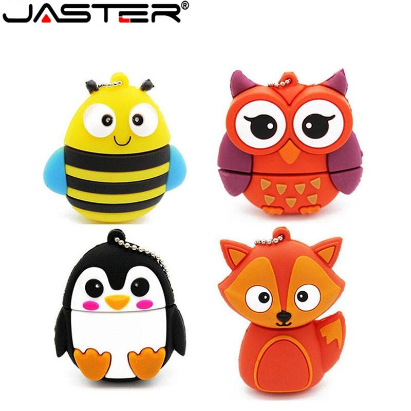 JASTER lindo pendrive de dibujos animados usb flash drive 1 GB 2GB 4GB 8GB 16GB 32GB bolígrafo de búho Disco fox U disco animal lápiz de memoria de regalo