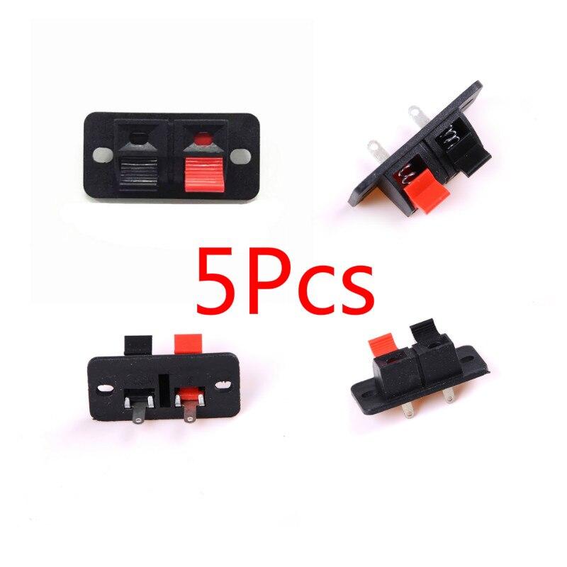 5Pcs 2 Positionen Stecker Terminal Push-in Jack Frühling Last 2 weg 2 Pin Frühling push-Release Home Audio lautsprecher Terminals
