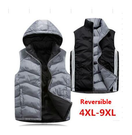 Autumn Winter Reversible Two Sided Wear Waistcoat Men Hooded Vest Cotton Down Jacket Sleeveless Coat Plus Size 4XL 5XL 6XL - 9XL