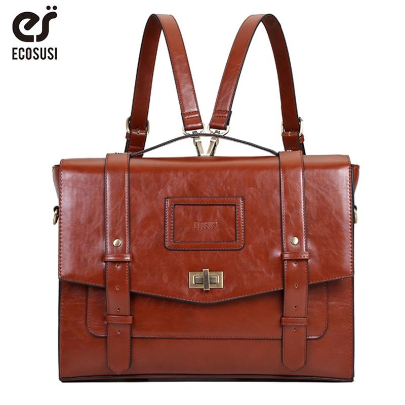 ECOSUSI-حقيبة ماسنجر من الجلد الصناعي للنساء ، 14.7 بوصة ، حقيبة كتف بإبزيم ، حقيبة سفر تحمل علامة تجارية ، مجموعة جديدة