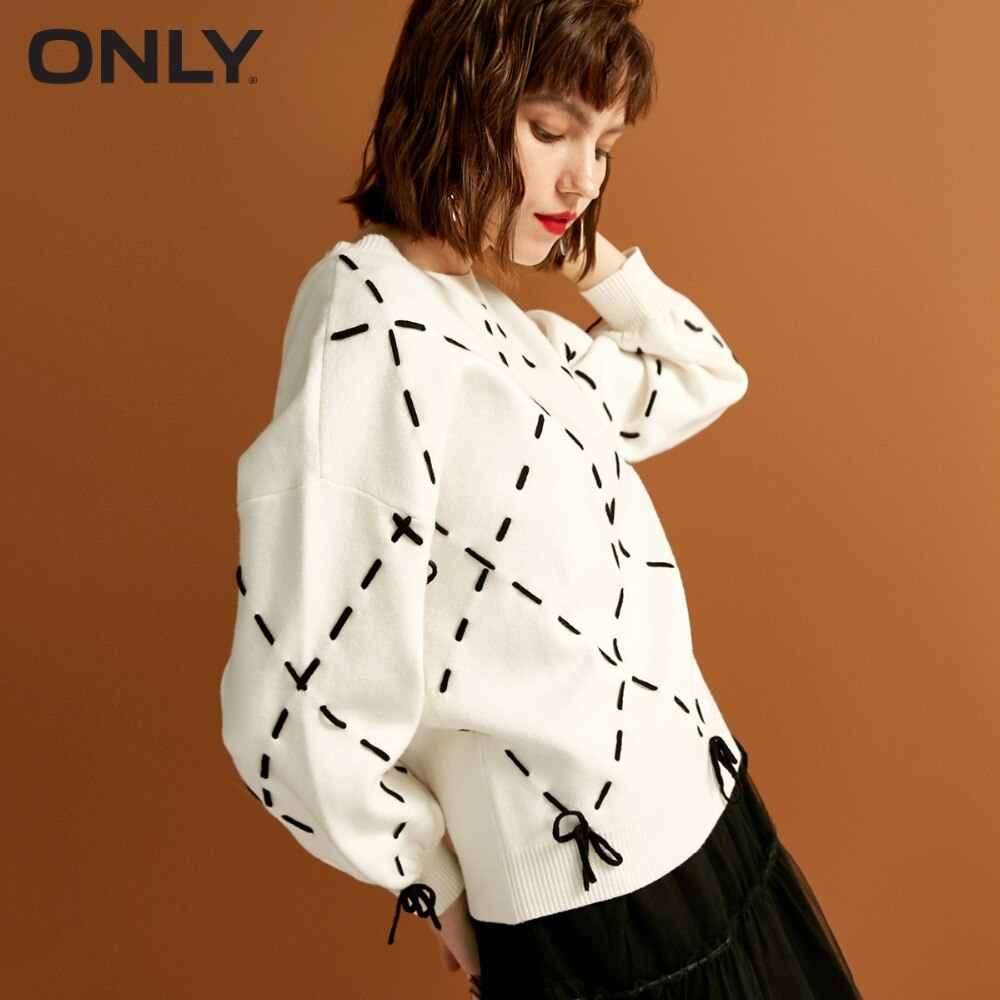 Única camisola de malha de renda de corda solta nova inverno das mulheres na moda treliça de diamante tie-up design   118324560