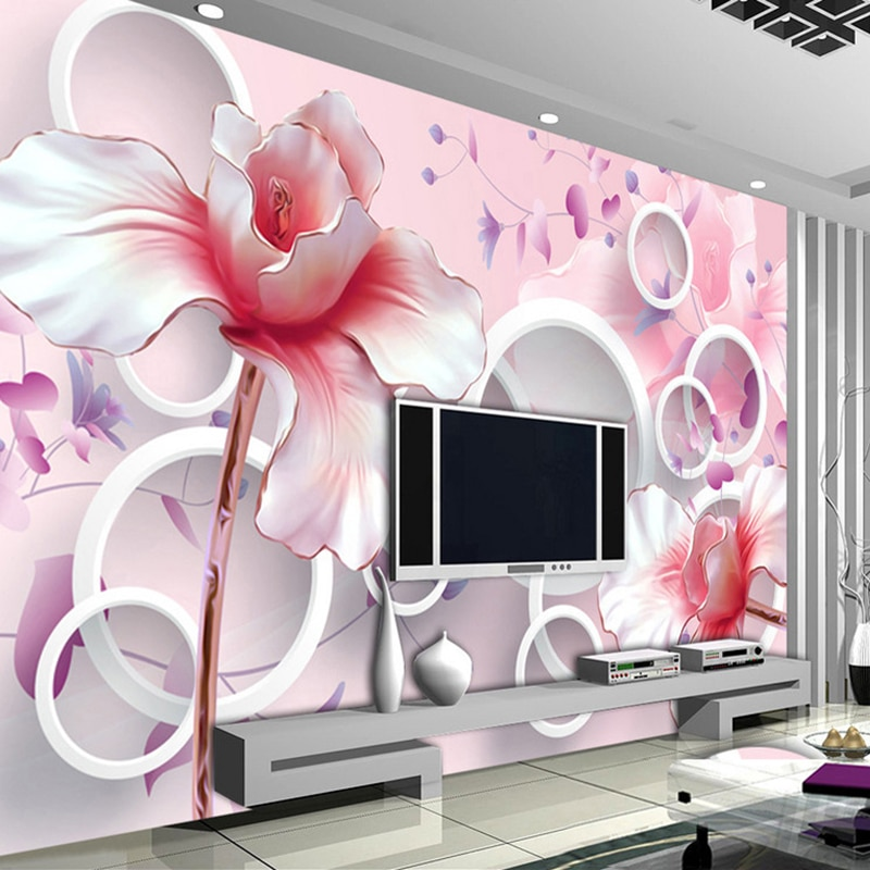 Papel pintado Mural personalizado para sala de estar 3D en relieve Rosa Magnolia murales de flores TV Fondo pared pintura foto papel tapiz