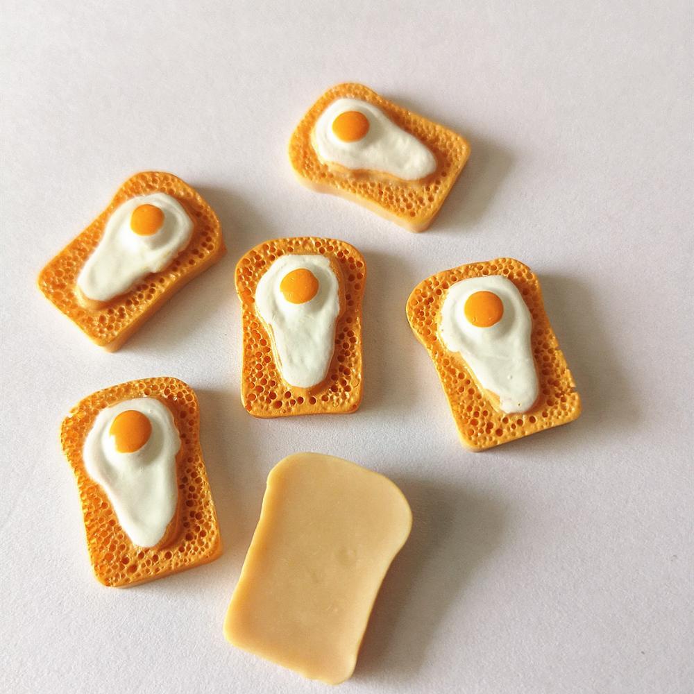 Diy huevo frito de resina 112, huevo blanco, cabujones con parte trasera plana para casa de muñecas, comida en miniatura para cocina, álbum de recortes DIY 8 Uds.