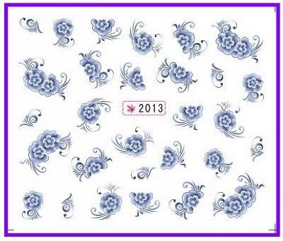 6 pacote/lote brilho água DECAL NAIL ART etiqueta CHINA azul SY2013-2018