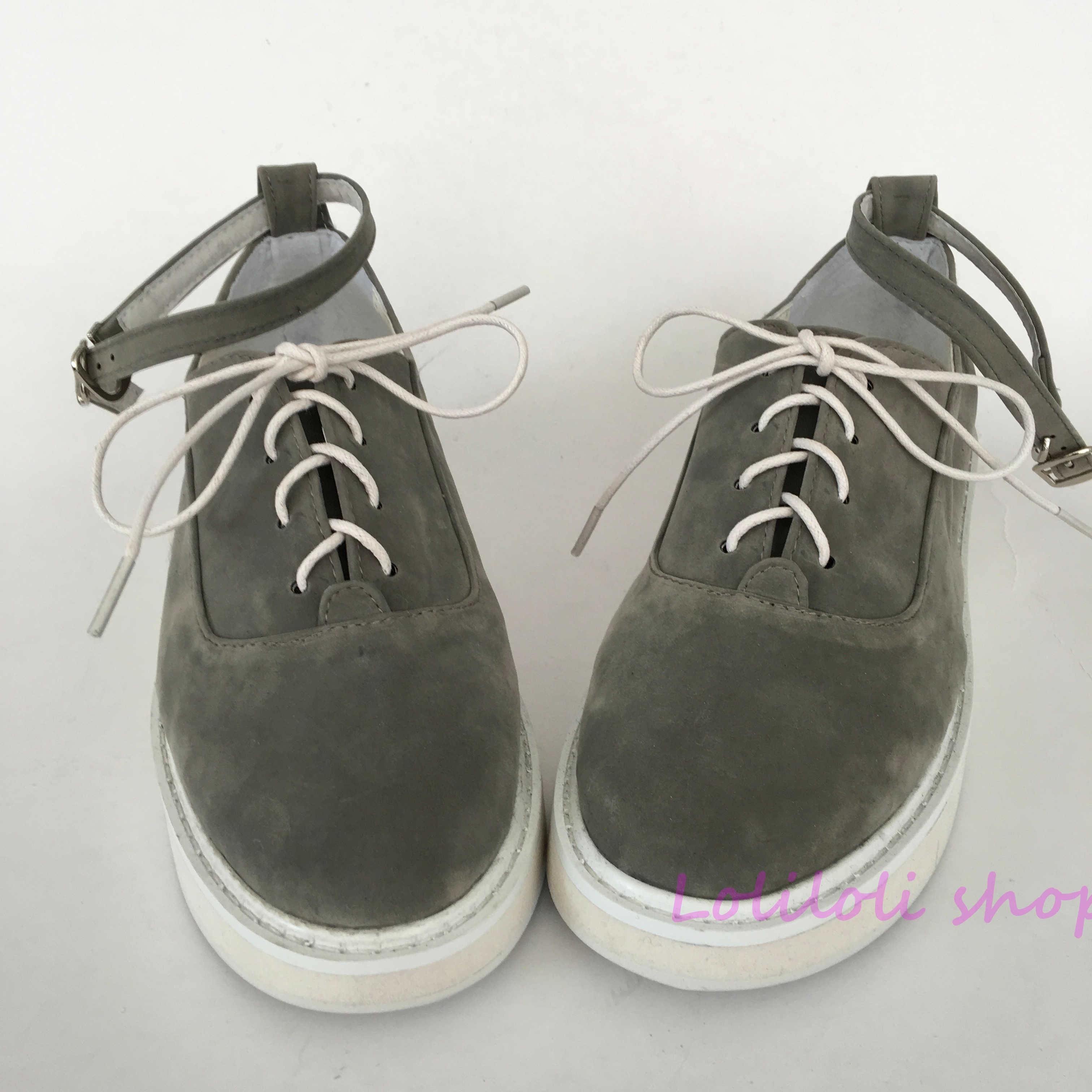 Princesa lolita zapatos grises fondo blanco gamuza Muffin inferior hebilla cinturón personalizado zapatos de gran tamaño hecho a mano an1284