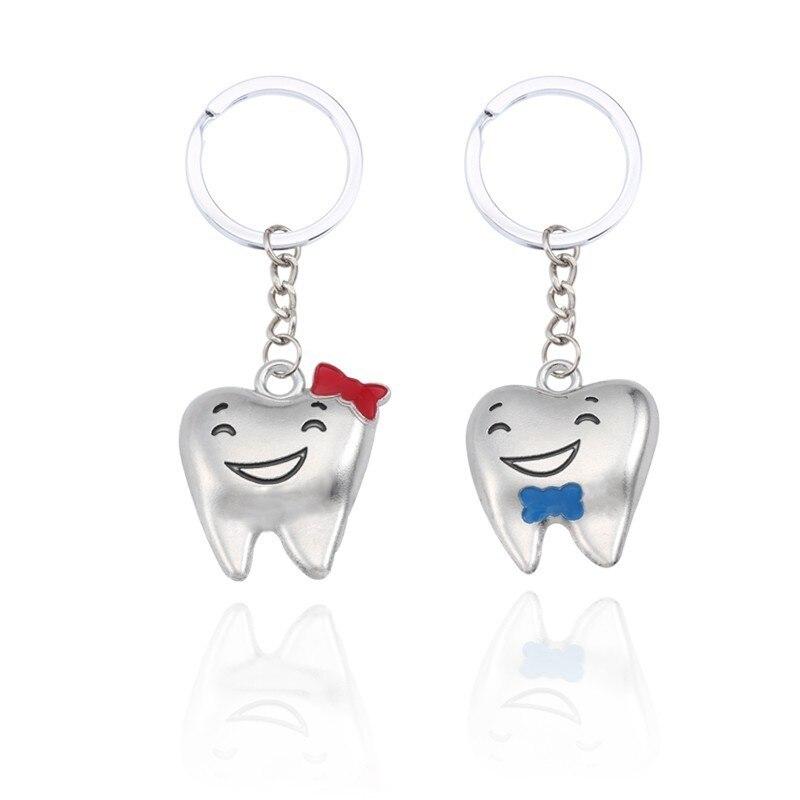 LLavero de diente de dibujos animados linda pareja llave cadenas para mujeres aleación metal llavero para amantes llaveros de coche llavero Cadena de regalo de Navidad