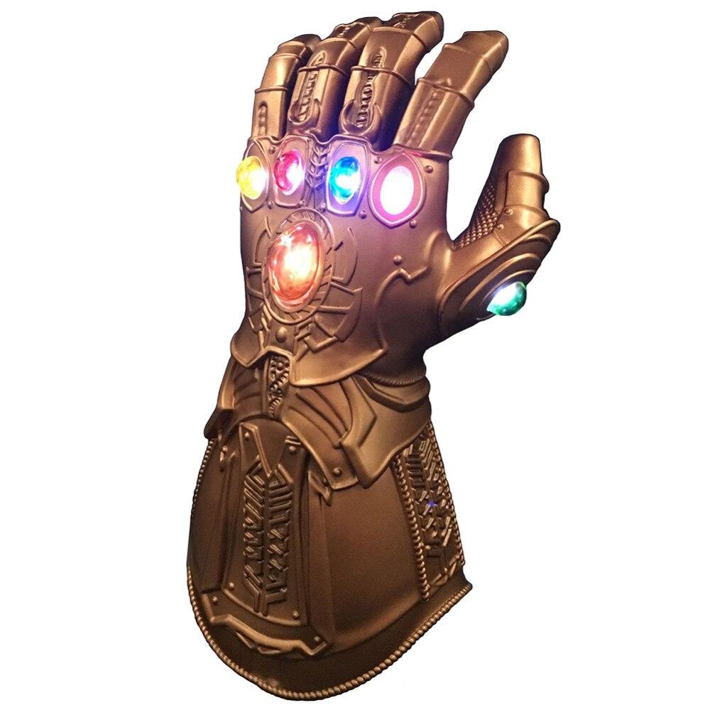 Thanos Cosplay, guantes de Thanos ligeros LED, juguetes de utilería de PVC para Halloween, fiesta de Carnaval