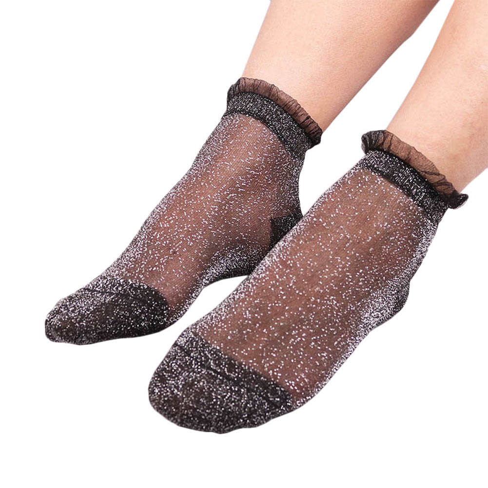 1 par moda feminina rendas meias de cristal de vidro seda curto fino transparente ruffle hem meias fs99