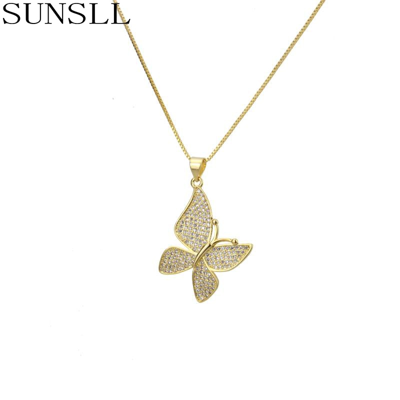SUNSLL nuevo diseño oro/plata Color cobre collar blanco Cubic Zirconia collar mariposa collar moda mujer pendiente fino