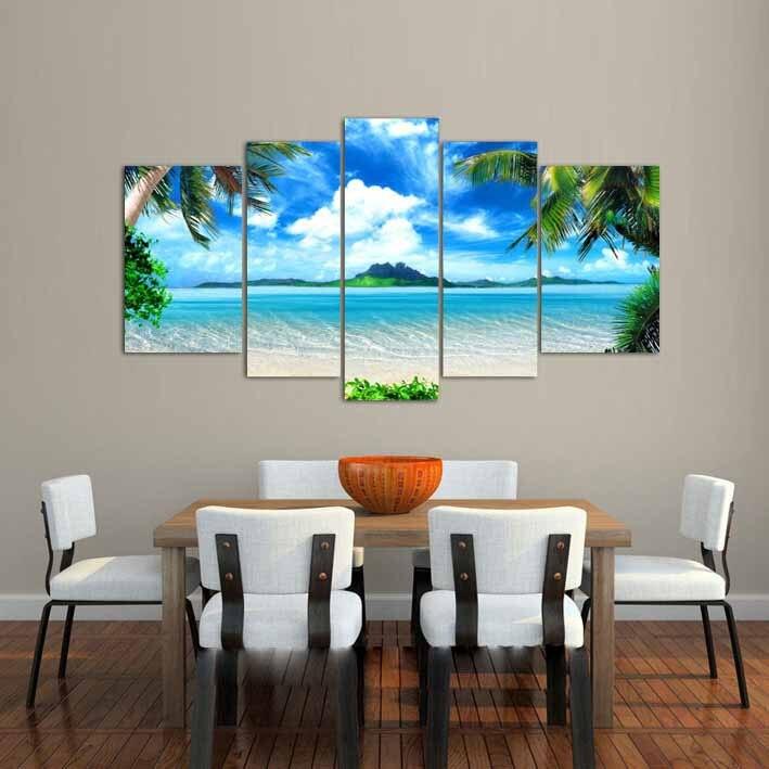 Gran sala de estar decoración de pared del hogar imagen artística impresa Azure cielo océano nubes blancas Coco pintura de árbol en lienzo arte/PT0202