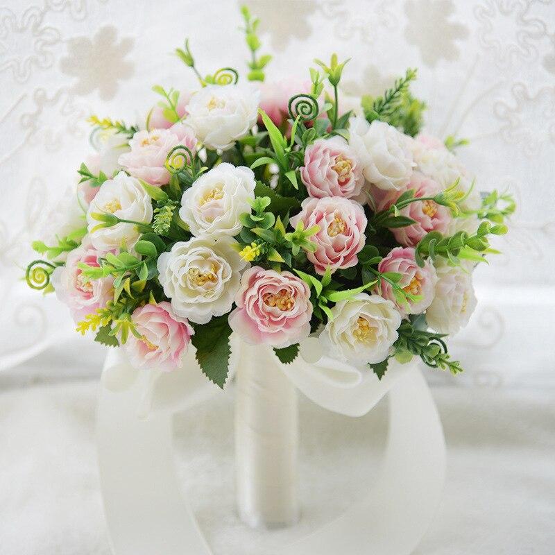 Ramo romántico para boda MissRDress, ramo de novia de seda Artificial, ramo de novia rosa con flores para decoración de boda JK203