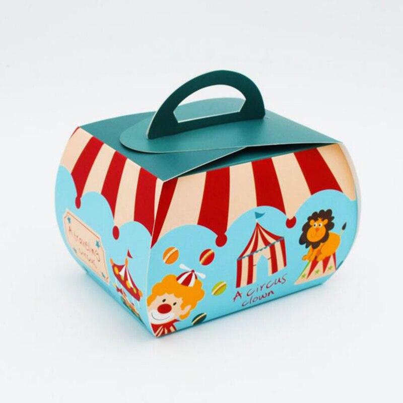 Boîte à bonbons mignon bricolage à motif cirque   Offre spéciale, sac à main en papier pour boîte cadeau, fournitures de fête, 20 pièces/lot
