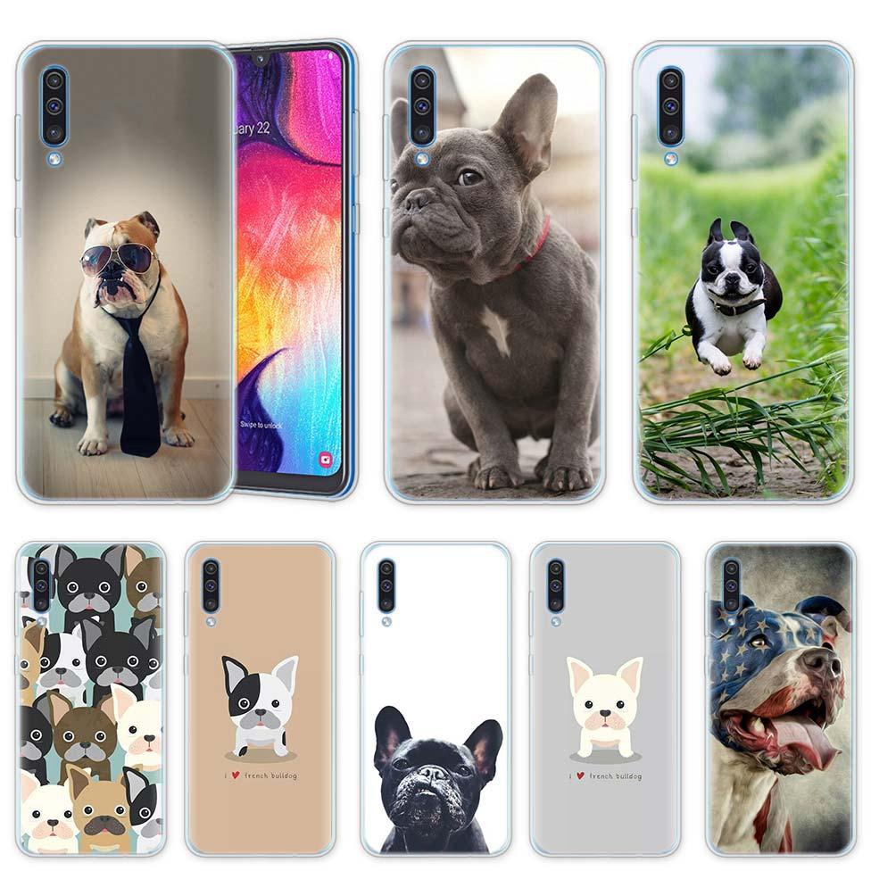 Bulldog Francés caso para Samsung A50 A70 A60 A40 A30 A20 A20e A10 A51 A71 A7 A9 2018 de silicona claro funda de teléfono TPU Coque