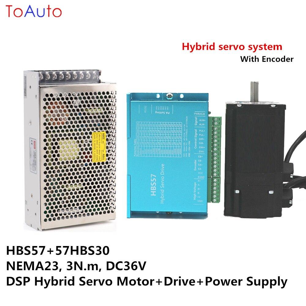 مجموعة السائر ذات الحلقة المغلقة NEMA23 ، 3 نانومتر ، HBS57 57HBS30 ، DC36V ، DSP ، محرك سيرفو هجين ، مصدر طاقة لآلة القطع بالليزر