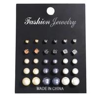 30pcset card flowers crystal stud earrings set new rhinestone black imitation pearl earrings for women bride jewelry