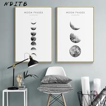 Phase de lune toile affiches et impressions minimaliste Luna mur Art abstrait peinture nordique décoration photos moderne décor à la maison