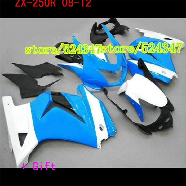 Alta calidad párr para Kawasaki Ninja 250R 201208 2008-09-12 ZX250R blanco azul...