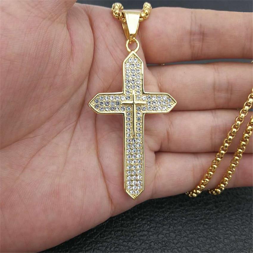 Collar religioso con colgante de cruz grande para mujeres/hombres, Color dorado, acero inoxidable, collares con crucifijo, joyería cristiana masculina XL1136