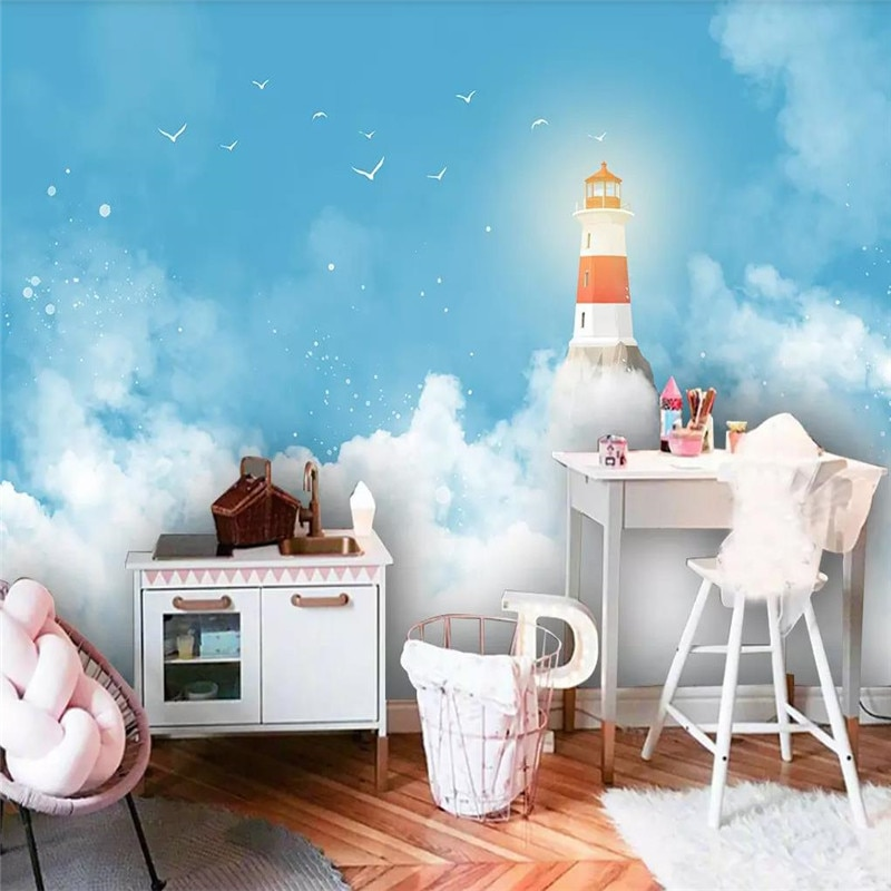 3d обои современные голубое небо Маяк детская комната фон стены Большие плакаты на заказ, фрески могут быть настроены фото стены