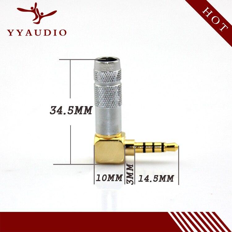 100 قطعة الذهب مطلي النحاس اللحيم ستيريو 4 القطب 3.5 مللي متر المكونات الذكور سماعة جاك 90 درجة زاوية الحق جاك كابل محول موصل
