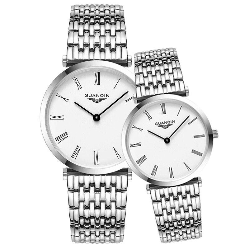 GUANQIN, juego de relojes para parejas, reloj de pulsera de lujo para hombre y mujer, reloj de cuarzo para mujer, reloj para parejas