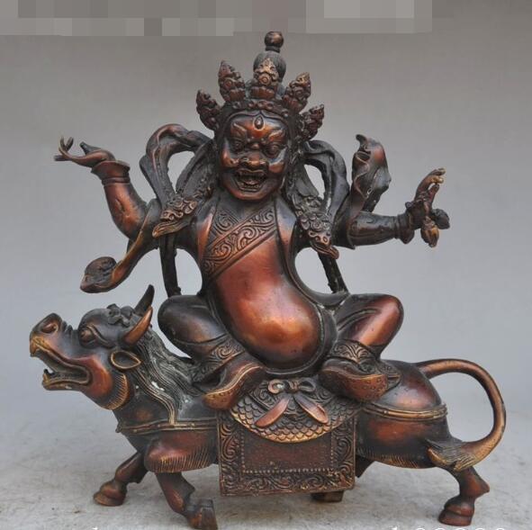 "Envío libre S00652 9 ""viejo tíbet fane bronce budismo joss Mahakala buda dios Ride Ox estatua de la bestia"
