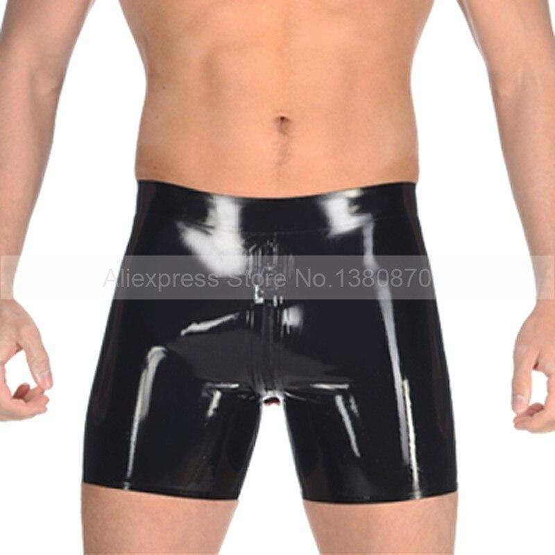 Sexy látex de goma calzoncillos de Hombre Pantalones cortos con cremallera de entrepierna delantera y culo condón S-LPM054