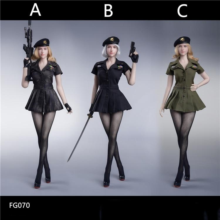 1/6 figura femenina ropa accesorio FG070 US estilo militar medias sin fisuras Series traje modelo tricolor para 12 figura de acción