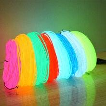 10 видов цветов EL Wire 50 м 100 м 200 м 500 м Гибкий неоновый свет 2,3 мм DIY светящаяся веревка трубка водонепроницаемая светодиодная лента для танцевал...
