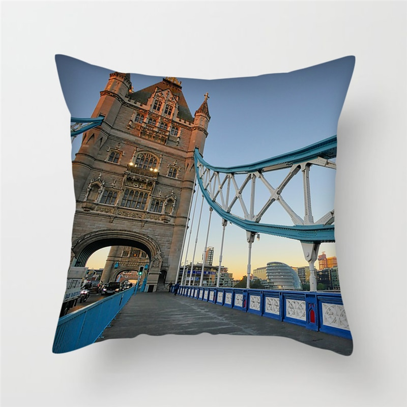 Fuwatacchi Home Decor Pillowcase Famous Countries Scenic Cushion Cover London Bridge Captive Palace Pillow Cover Sofa Decorative