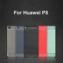 Fibre de carbone texturé silicone pour Huawei P8 étui Capa hommes style daffaires pour Huawei P 8 HuaweiP8 étui de téléphone portable