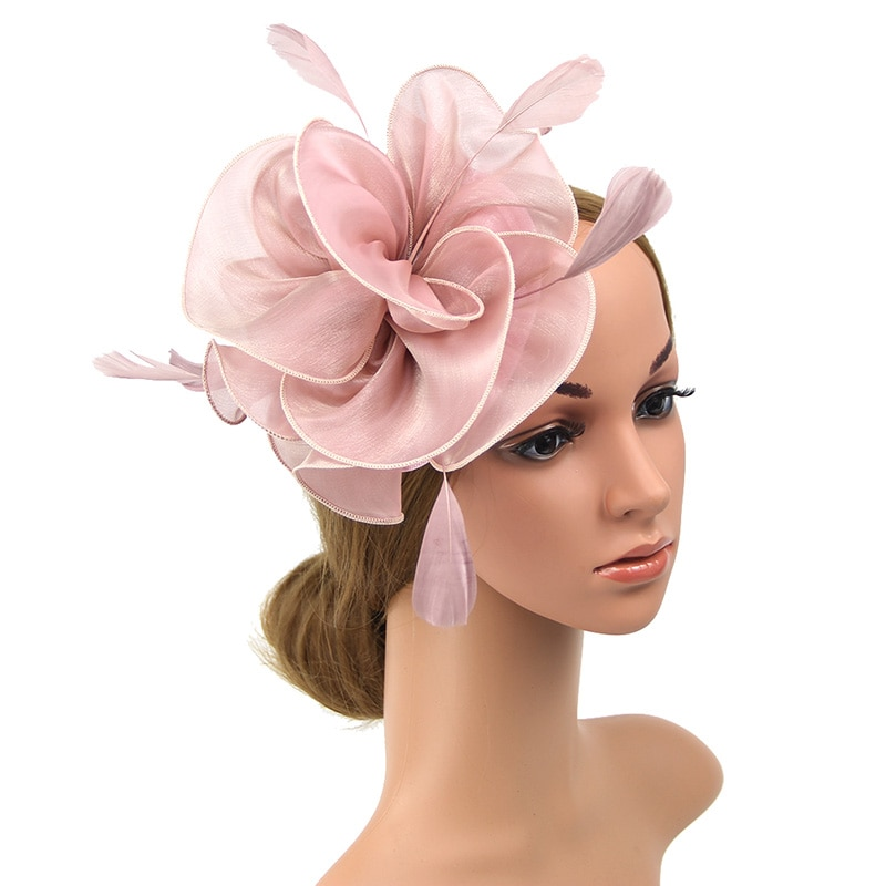 Tocado con diadema pluma pastillero Floral sombrero de malla para mujeres cóctel rosa