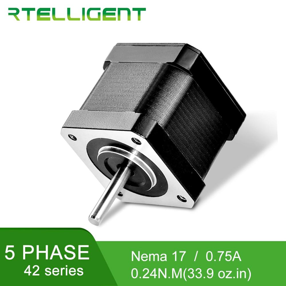 Rtelligent-محرك متدرج 0.72 درجة 5 مراحل Nema 17 ، 0.24N.M 42C03 ، محرك 5 خطوات ، 0.75A لمجموعة CNC ، آلة النقش