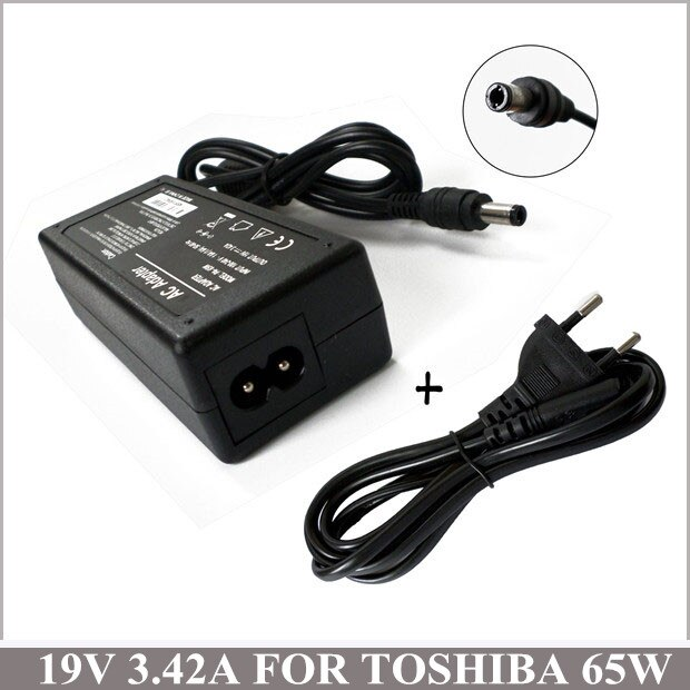 19V 3.42A 65W Notebook Laptop Charger Plug AC Adapter For Netbook Toshiba Satellite A215-S5822 E105-