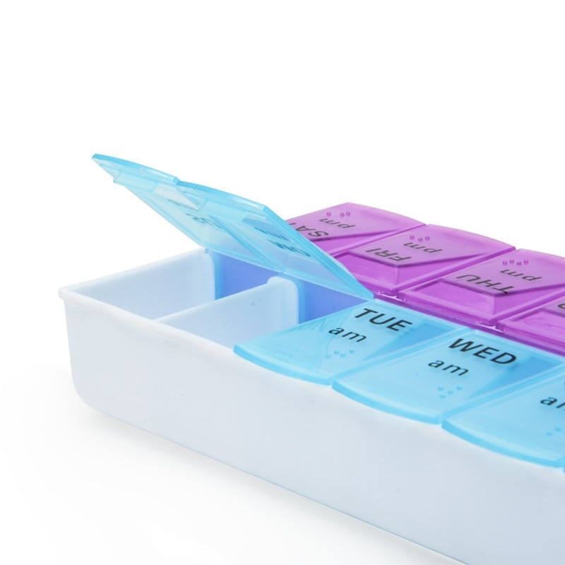 Double row 14 geriatric medicine box a week medicine box family medicine collection box with braille English word