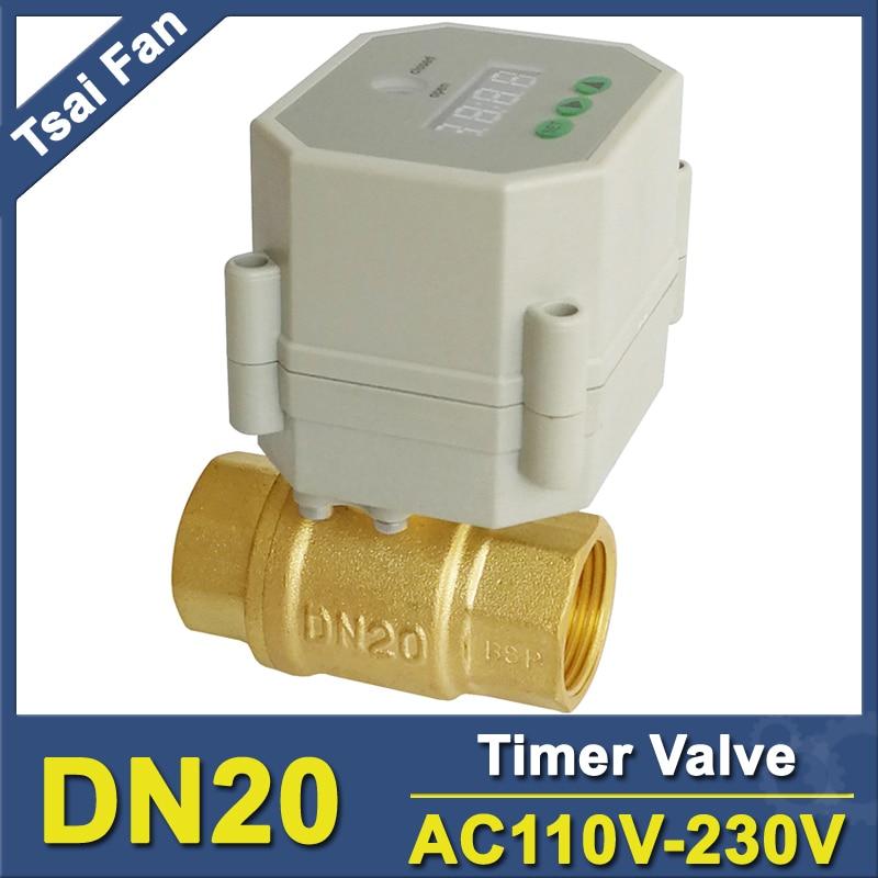 Válvulas de cierre de temporizador eléctrico latón DN20 BSP/NPT 3/4 ac110v-230 V para riego de agua Gardon