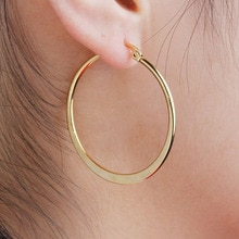 8SEASONS 304 Stainless Steel Women Hoop Earrings Girls Fashion Earrings Gold Color Round Simple 2018 Hot Sale 41mm x 39mm, 1Pair