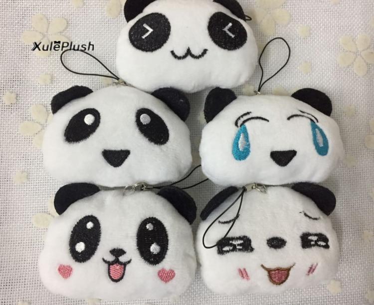 5 caras, 5CM aprox. Pequeños juguetes de peluche de Panda, lindos colgantes, pequeños juguetes de peluche de panda, muñecas