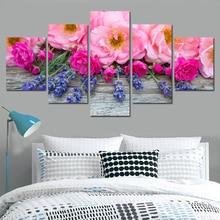 5 шт./компл., Комбинированные цветочные картины, фиолетовая Роза, Современная Настенная живопись, холст, настенная живопись, картина без рамы...