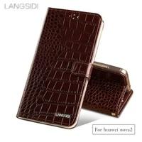 wangcangli brand phone case crocodile tabby fold deduction phone case for huawei nova2 cell phone package handmade custom